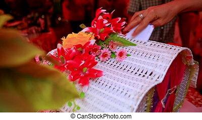 boîte, gens, argent, présente, mariage, mettre, fête, spécial