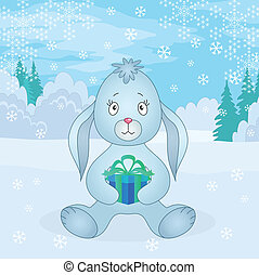 boîte, girl, hiver, lapin, forêt