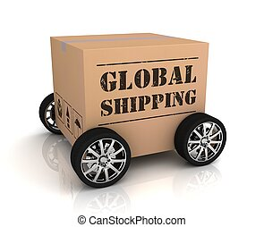 boîte, global, expédition, carton