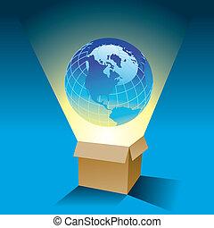 boîte, globe, vient, dehors