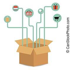 boîte, graphique, paquet, expédition, livraison, vecteur, icon.