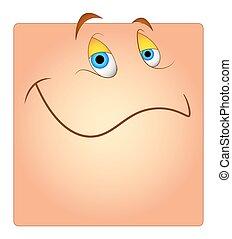 boîte, heureux, smiley, dessin animé, figure