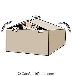 boîte, homme, dessin animé, dissimulation