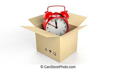 boîte, horloge, reveil, isolé, arrière-plan., retro, blanc, carton, rouges