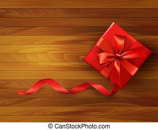 boîte, illustration., cadeau, bow., vecteur, fond, vacances, rouges