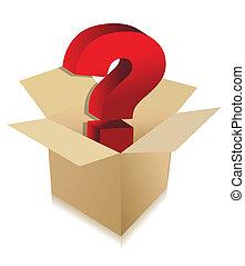 boîte, inconnu, concept, contenu