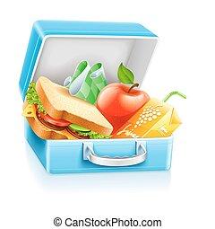 boîte, jus, sandwich, pomme, déjeuner