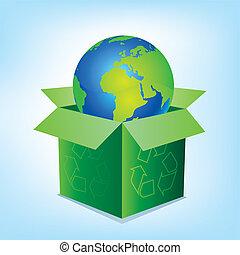 boîte, la terre, vecteur