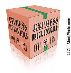 boîte livraison, carboard, exprès, paquet