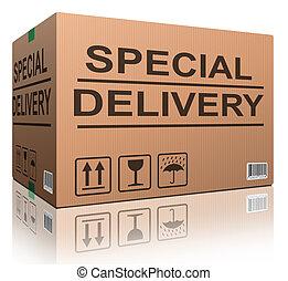 boîte livraison, carton, spécial