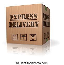 boîte livraison, expres, carton, meute