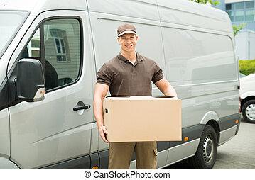 boîte livraison, tenue, homme