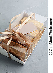 boîte, magasin, business, cartes., gâteaux, patisserie, assortiment