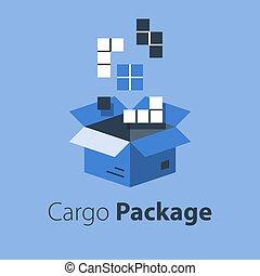 boîte, magasin, services, articles, multiple, grand, ensemble, logistique, paquet, ordre, meute, réunir