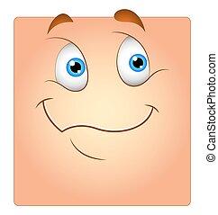 boîte, mignon, smiley, dessin animé, heureux