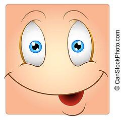 boîte, mignon, smiley, visage heureux