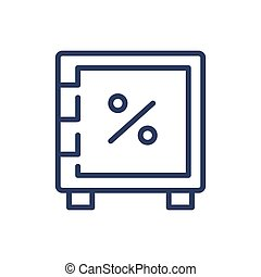 boîte, mince, safe-deposit, icône, ligne