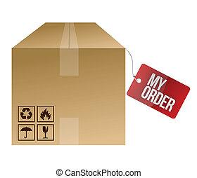 boîte, mon, ordre, expédition