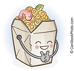 boîte, nourriture chinoise, prendre, dessin animé, dehors