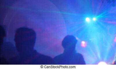 boîte nuit, silhouettes, danse, gens