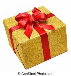 boîte, or, arc don, intelligent, rouges