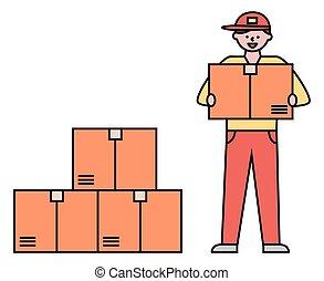 boîte, ordres, courrier, prendre, entrepôt