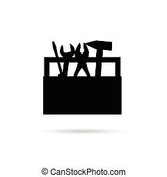 boîte, outillage, noir, illustration, icône