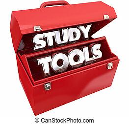 boîte outils, ressources, étude, apprentissage, illustration, outils, education, 3d