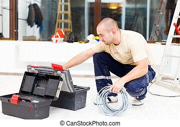 boîte outils, sien, service, homme