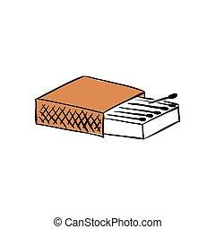 boîte, package., matches., isolé, illustration, rendre, fond, vide, blanc, 3d