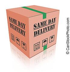 boîte, paquet, carboard, même, livraison, jour