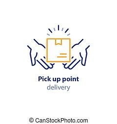 boîte, paquet, paquet, recevoir, collection, point, haut, porteur, cueillir, services, mains