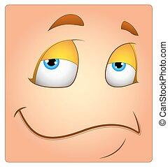 boîte, paresseux, visage smiley, dessin animé, heureux