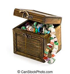 boîte, perles, mode, bois