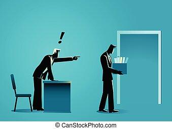 boîte, personnel, homme affaires, apporter, articles