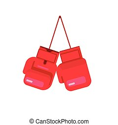 boîte, plat, isolé, boxe, illustration, corde, vecteur, gants, pendre, dessin animé, icône