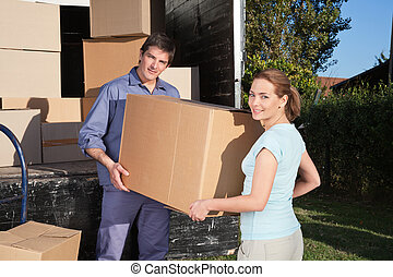 boîte, portrait, couple, porter, carton