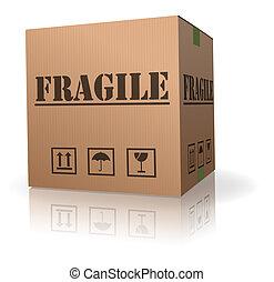 boîte, poste, fragile, carton, paquet