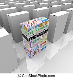 boîte, produit, avantage, compétitif, une, reinvention, nouveau, mieux