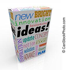 boîte, produit, concept, idées, innovateur, idée génie, inspiration
