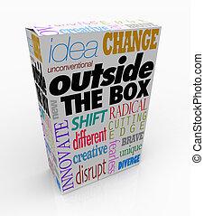 boîte, produit, paquet, dehors, mots, innovation