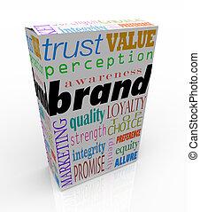 boîte, produit, paquet, marquer, marque, mots