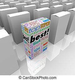 boîte, produit, stands, avantage, étagère, compétitif, mieux, magasin, dehors