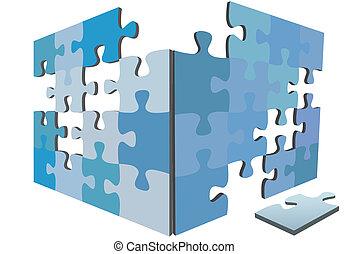 boîte, puzzle, solution, igsaw, morceaux, morceau, côtés, 3d