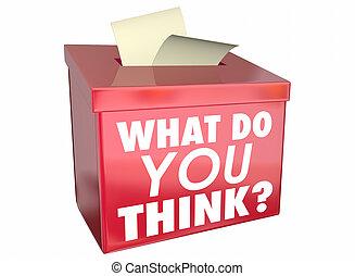 boîte, quel, part, illustration, opinion, vous, penser, pensées, 3d