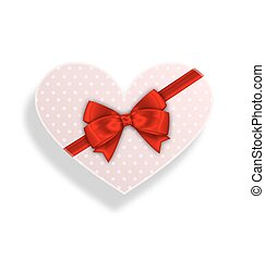 boîte, romantique, cadeau, valentines, arc, jour, ruban