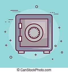 boîte, safe-deposit, icône