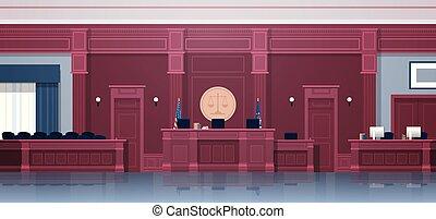 boîte, secrétaire, vide, intérieur, justice, jury, concept, salle audience, horizontal, sièges, jurisprudence, tribunal, moderne, lieu travail, juge