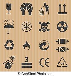 boîte, set., conditionnement, vecteur, signes, carton