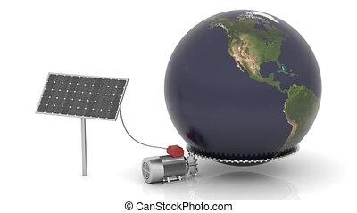 boîte, solaire, mouvement, mondiale, énergie